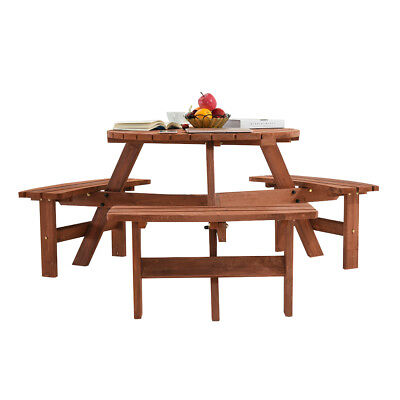 Outstanding 6 Seater Wooden Round Picnic Bench Round Picnic Table Gmtry Best Dining Table And Chair Ideas Images Gmtryco