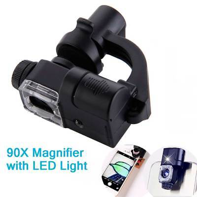 90X Zoom Microscope Clip Magnifier Camera LED Light Lens Loupe for Mobile Phone