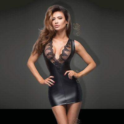 NOIR HANDMADE Wetlook Mini Kleid Power Dress Mit Spitze Tolles Dekolletee HOT