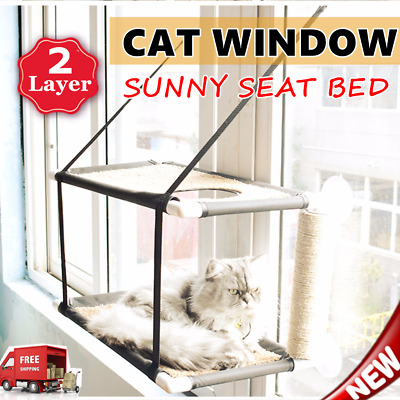 Window Sunny Seat Bed Pet Cat Hammock Washable Double Layer Hanging Bed LOT G%