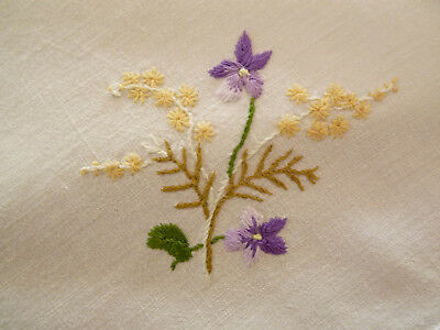 VIOLETS & GOLDEN WATTLE Gorgeous Vintage Hand Embroidered Linen Breakfast Cloth