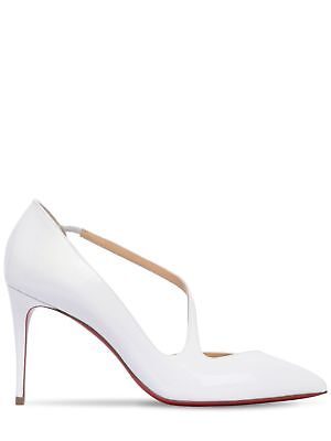 9e0aad44afd5 CHRISTIAN LOUBOUTIN 85MM Jumping Patent Leather White Pumps Size 38 ...