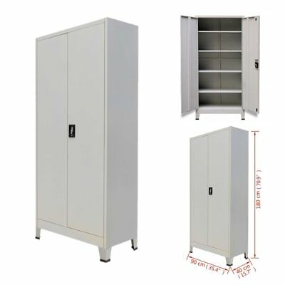 Metal Office Filing Cabinet Lock Cupboard Document Storage Shelves Organizer 180