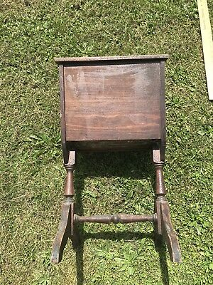 Vintage Wood Standing Sewing Box Stand Chest Cabinet