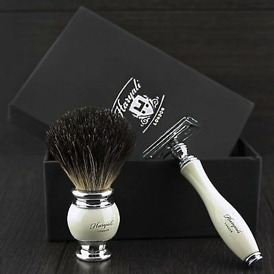 Vintage Replaceable Blade Safety Razor Badger Shaving Brush Gift Set/Kit&Blades