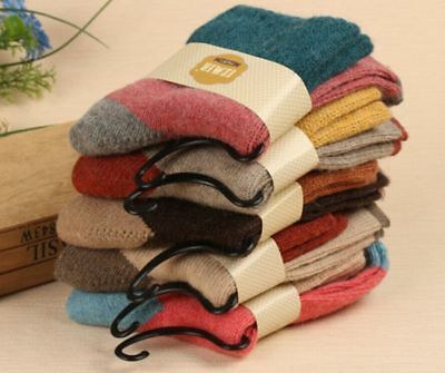 5 Pairs Women Girls Wool Thick Winter Socks Warm Soft Solid Casual Slipper AU