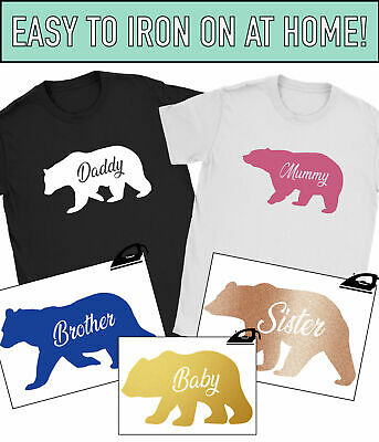 Family Bear Iron On T Shirt Transfer Mummy Daddy Mothers Fathers Day Baby Vinyl