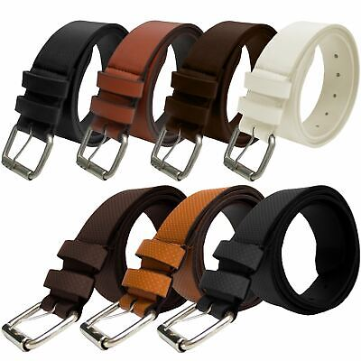 """50/"""" Kruze New Mens Brown Pu Leather Buckle Belt For Jeans Waist Sizes 28/"""""""
