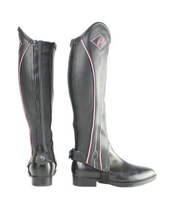 Hy Two Tone Leather Gaiters - Black and Pink