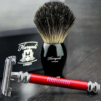 Men's Shaving Butterfly Safety Razor In Red with Pure Black Badger Hair Brush