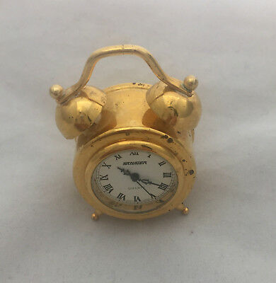 Vintage Antique Art Deco Rustic Brass Gold Collectable Mini Clock Bells design