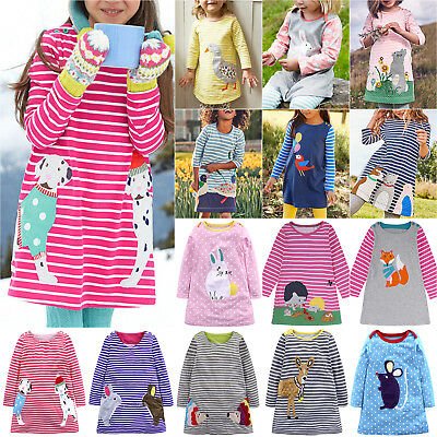 Kids Baby Girls  Clothes Striped Dress Animal Appliques Casual Long Sleeve  Dress c96d74e3b