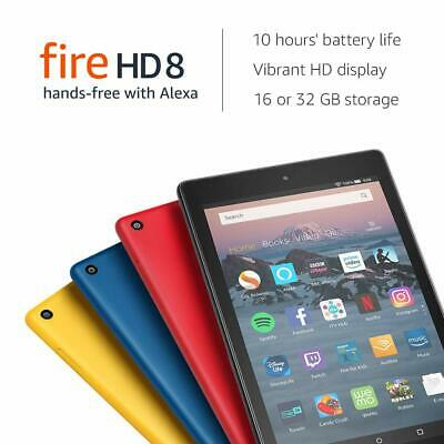 Kindle Fire HD 8 Tablet with Alexa ,8 inch 16GB, 2018 Model Black , Red , Blue