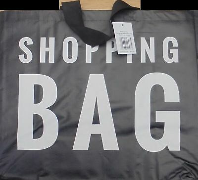 Black Reusable Woven PVC Shopping Carrier Bag ~ Large or Jumbo