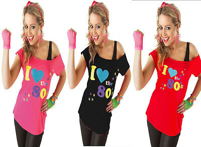 New Women Ladies I love 80s T Shirt Top Fancy Dress Costume Neon Festival Outfit