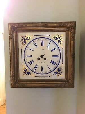 Antique FRENCH STRIKING WALL CLOCK Leroy Paris VINTAGE/SHABBY CHIC