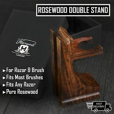 Classic Style Wood Stand for Razor and Shaving Brush, Walnut Finish