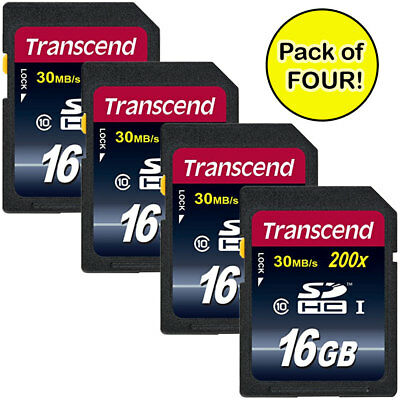 Transcend 16GB SDHC Class 10 Memory Card (TS16GSDHC10) Pack of FOUR - Value Kit