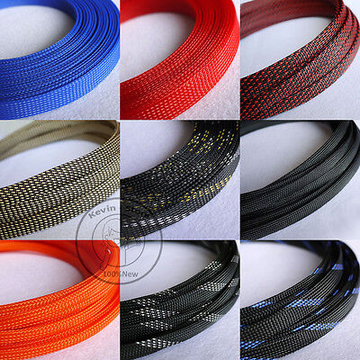 14mm New Tight Braided PET Expandable Sleeving Cable Wire Sheath (9 Color)