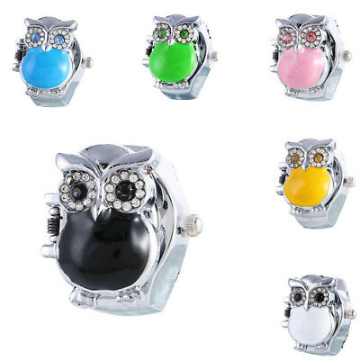 Fashion Cute Owl Quartz Enamel Adjustable Band Charm Women Finger Ring Watch