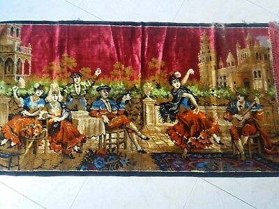 "ANTIQUE Vintage Velvet Tapestry Wall Hanging Party Dance Scene 40""/21.6"""