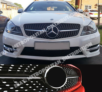 Mercedes C w204/c204/a204 saloon/coupe/estate/diamonds/AMG grille,C63 look,BLACK