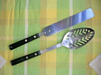 Lot of 2 Vintage Ekco Forge Utensils Slotted Spoon & Icing Spreader/Spatula USA