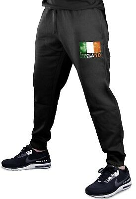 Men/'s Ireland Map Shamrock Fleece shorts sweatpants Jogger St Patrick/'s V508