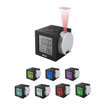 LCD Projection Alarm Clock Digital Led Snooze Weather Display Backlight Color 7