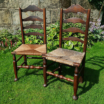 C19th Pair of Oak Ladderback & Rush Seated Country Kitchen Chairs (Antique)