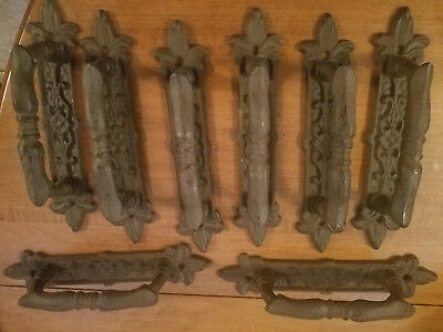 "8 Large Brown 9"" Door Gate Handles Pulls Rustic Antique-Style Cast Iron Drawer"