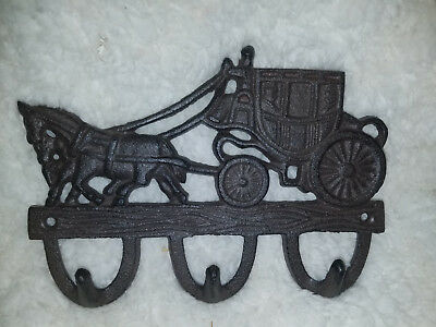 Rustic Brown Cast Iron Stage Coach Key Towel Coat Wall Hook (3 Hooks) 7 1/2""