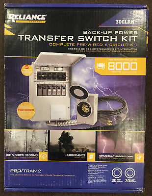 Reliance 306LRK Back-Up Transfer Switch Complete Pre-Wired 6-Circuit Kit -NEW-