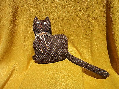 """Vintage Cat Shaped Hand Made Floral Door Stop Pillow moving eyes 14"""" x 10.5"""""""
