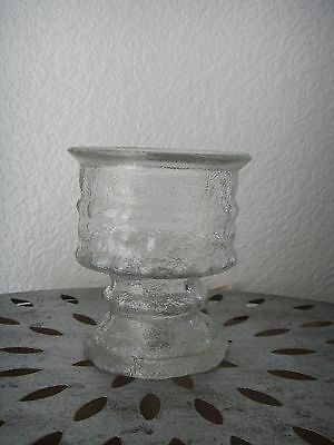 Vintage Mid Century LE Smith Ice Reversible Glass Candle Holder Votive Taper