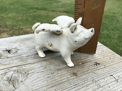 Antique Cast Iron Bank , Pig With Wings, When Pigs Fly