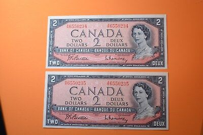 1954 Canada 2$ mod. por. 2 notes UNC. Folow.numbers.A/R 6550234-6550235 !
