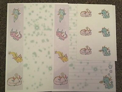 Lots Of Dragons Cute Letter Writing Paper & Sticker Set