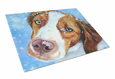Snow Baby Brittany Spaniel Glass Cutting Board Large