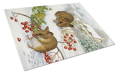 Carolines Treasures  ASA2028LCB Wood Mice and Berries Glass Cutting Board Large