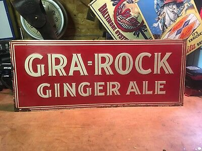 ORIGINAL 1920's GRA-ROCK GINGER ALE EMBOSSED TIN SIGN NOT VERNOR'S PEPSI COKE