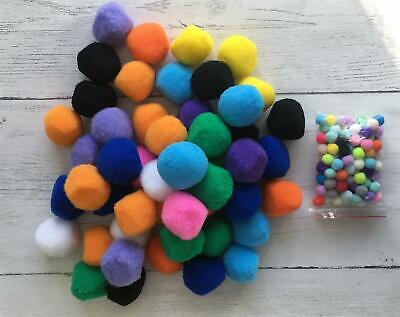 50 Pack 4 cm  Assorted Colour Pom Poms Extra Large Craft Nose Kids Decorations