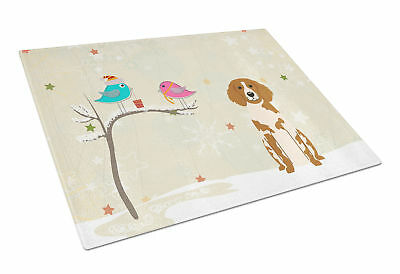 Christmas Presents between Friends Brittany Spaniel Glass Cutting Board Large