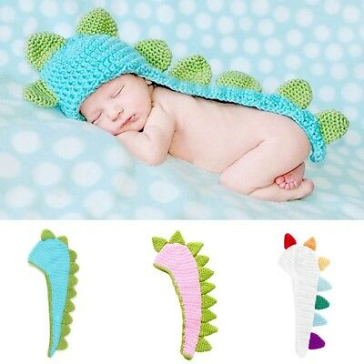 Cute Dinosaur Style Baby Infant Newborn Beanie Hat Clothes Baby Photograp Gift