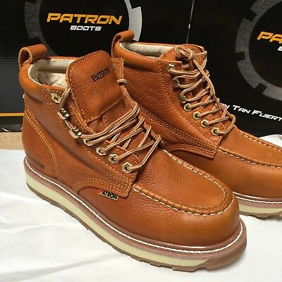 Men's Work Boots Moc Toe Genuine Leather Lace Up Safety Light Brown Botas