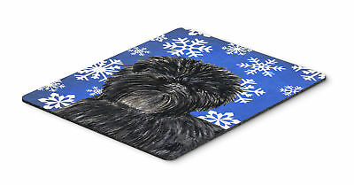 Affenpinscher Winter Snowflakes Holiday Mouse Pad, Hot Pad or Trivet