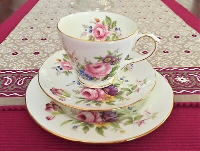 Lovely Duchess Fine Bone China Made In England Floral Patterned Trio