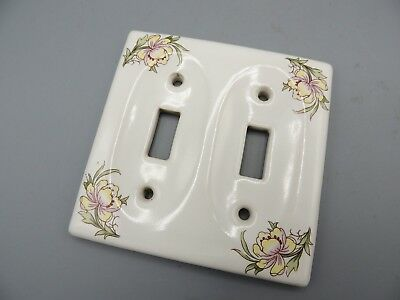 Vintage Ceramic Double Light Switch Cover Plate Floral