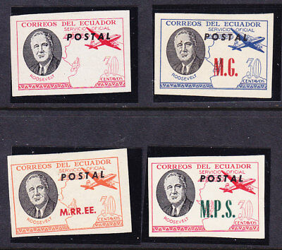 Ecuador Roosevelt Officials Over Printed  Imperforate  Issues (RARE)