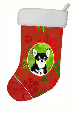 Chihuahua Red and Green Snowflakes Holiday Christmas Christmas Stocking SC9439